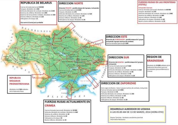 Avanço das forças russas no entorno da Ucrânia até 12-03-2014 em espanhol - Resistência da Informação da Criméia