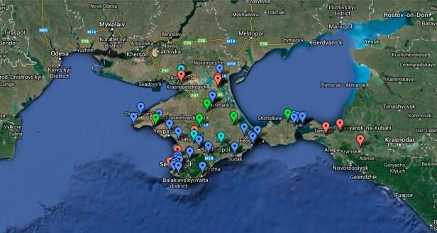 Mapa da situação dos quartéis da Criméia